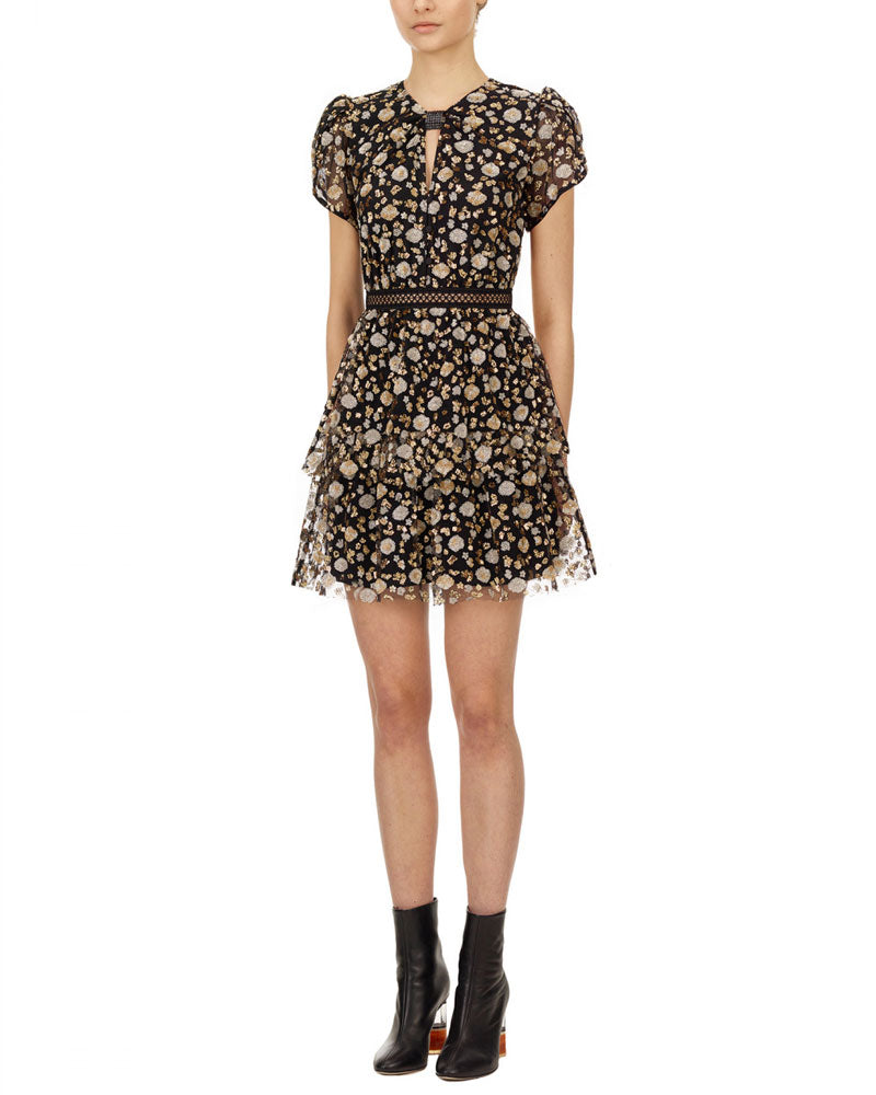Mesh Sequin Tiered Mini Dress