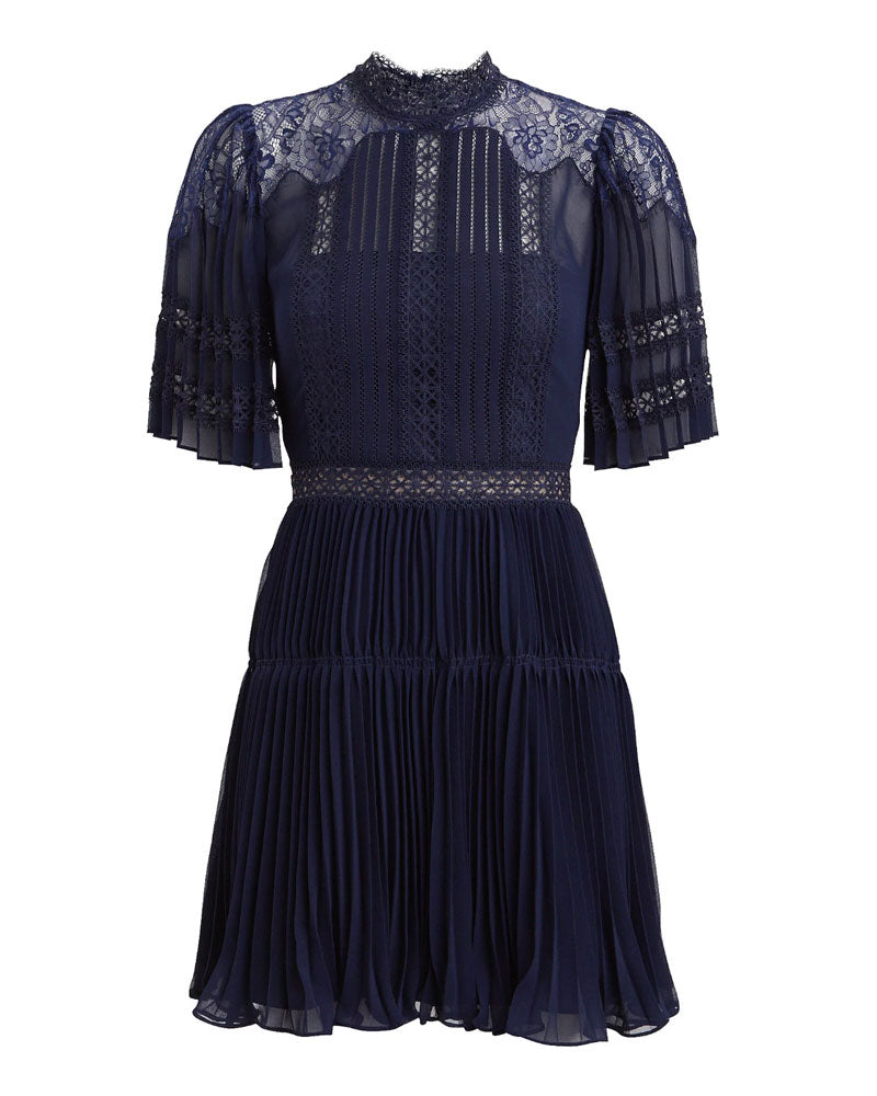 Navy Chiffon and Lace Panel Mini Dress