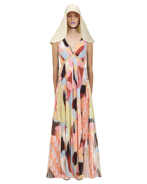 Pastel Geo Print Pleated Maxi Dress