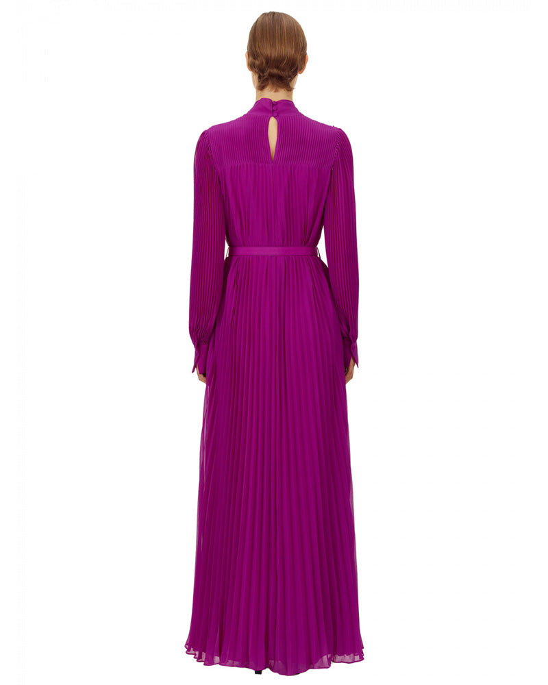 Purple Chiffon Pussybow Maxi Dress