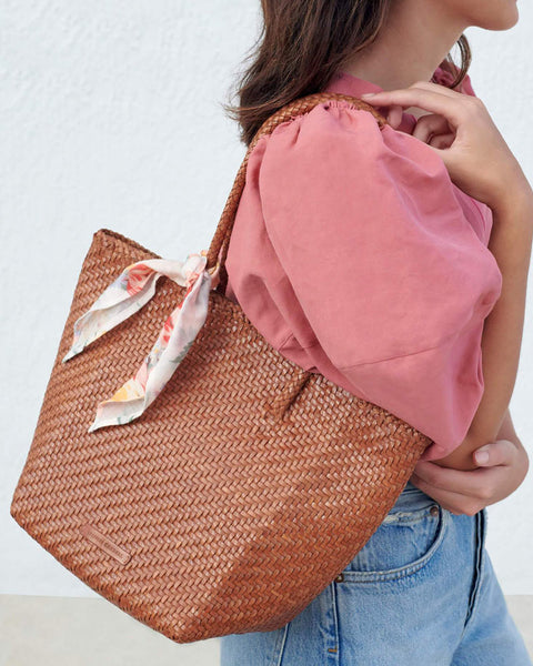 Tatia Woven Leather Tote