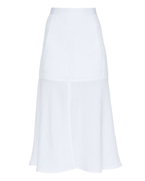 Viscose Plisse Long Front Slit Flared Skirt
