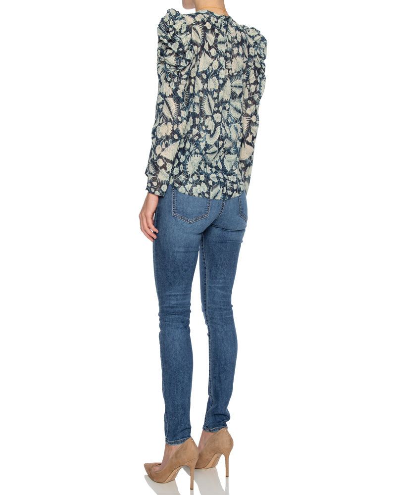 Adina Printed Cotton Blend Blouse