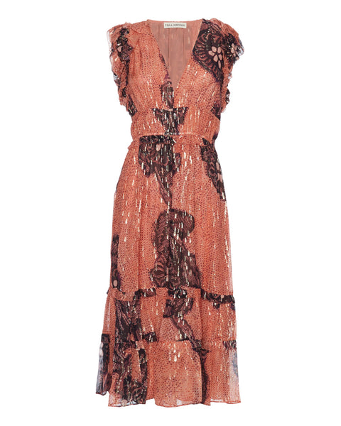 Akira Printed Metallic Midi Dress