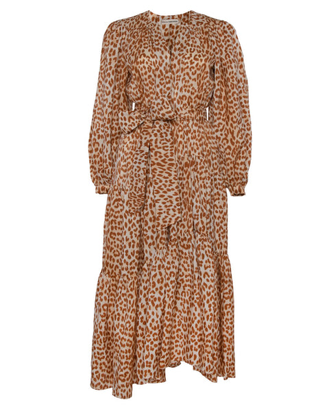 Daria Belted Cheetah Print Dress