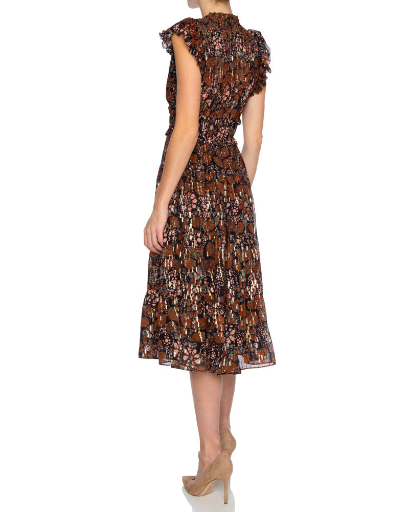 Renata Floral Georgette Pleated Dress