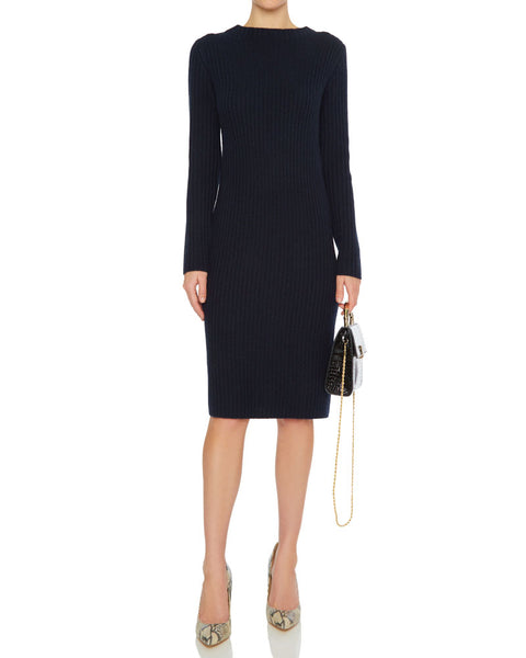 Ribbed Long Sleeve Crew Dress