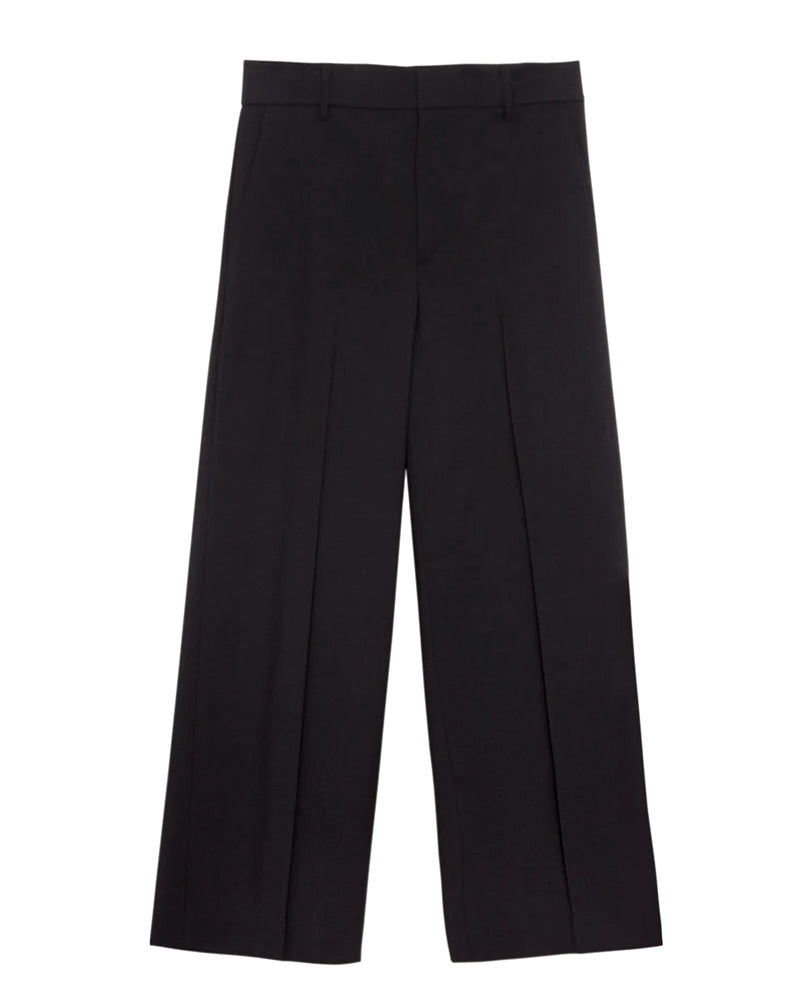 Straight Leg Crop Pants in Black