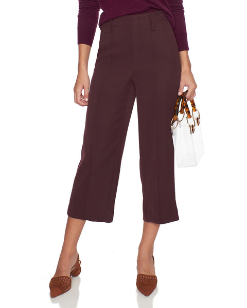 Straight Leg Crop Pants in Dahlia Wine