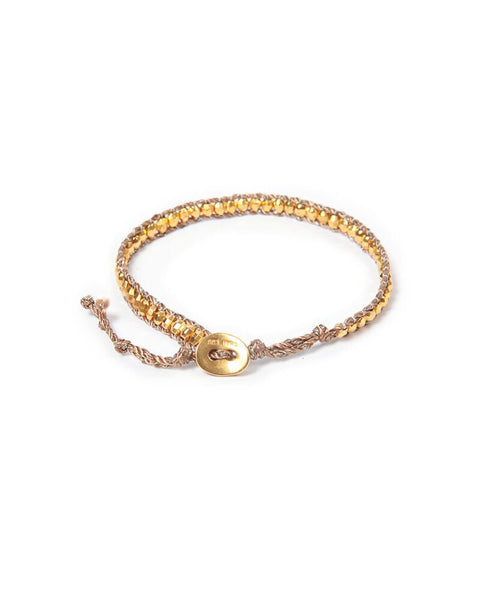 Yellow Gold and Bronze Leather Cord Bracelet