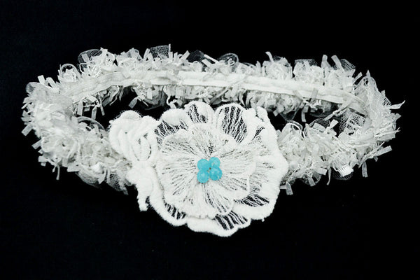 Le Mans - White & Blue Bridal Garter