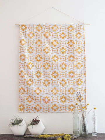 "Fabric Wall Hanging in Tangerine ""Casablanca"" Print"
