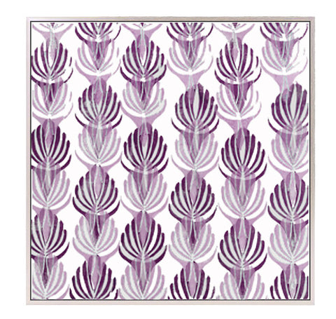 "Large Block Printed Canvas - ""Deco"" in Violet"