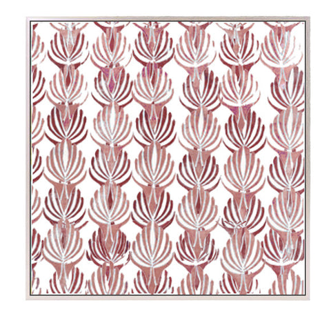 "Large Block Printed Canvas - ""Deco"" in Two Tone Red"