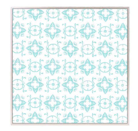 "Large Block Printed Canvas - ""Casablanca"" in Aqua"
