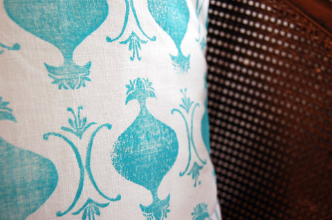 "Turquoise Linen Pillow Cover - ""King and Queen"""