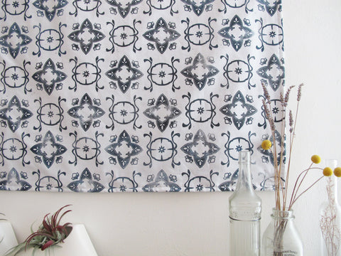 "Fabric Wall Hanging in Navy ""Casablanca"" Print"