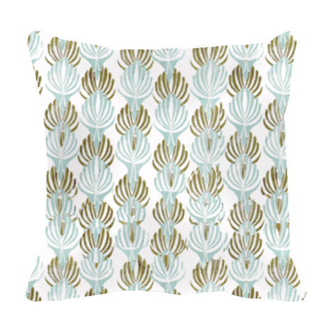 "20"" Pillow Cover - ""Deco"" in Aqua and Olive"