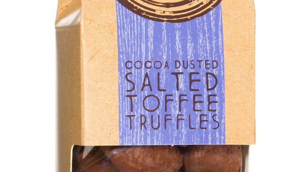 Cocoa Dusted Salted Toffee Truffles