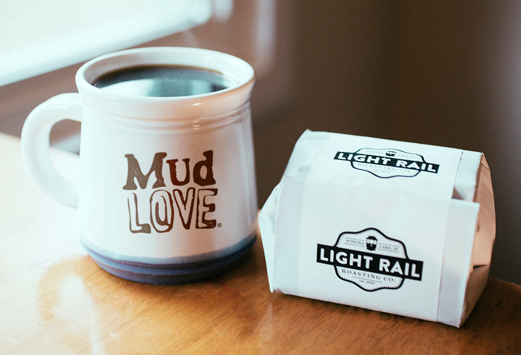 MudLOVE mug with Light Rail coffee