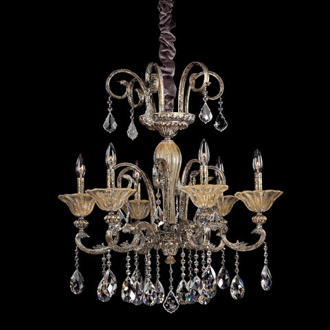 Legrenzi 6 Light Chandelier W/ Antique Silver Leaf
