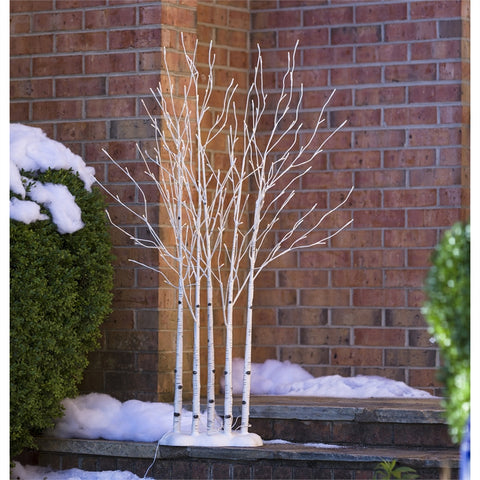 Indoor/Outdoor LED Birch Lighted Tree Fence
