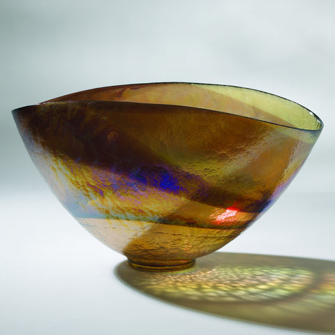Golden Iridescent Oval Bowl-Lg