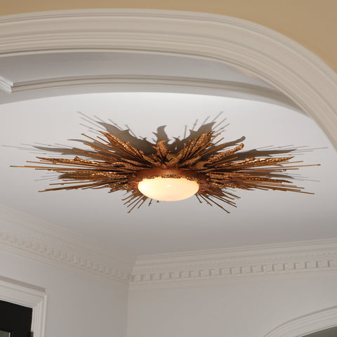 Flame Light Fixture-Gold Finish