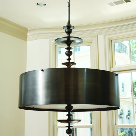 Turned Pendant Chandelier-Antique Bronze Finish-Small