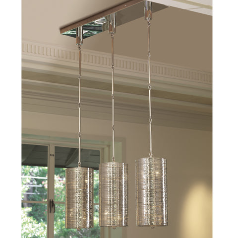 Coil 3 Light Pendant-Polished Nickel Finish