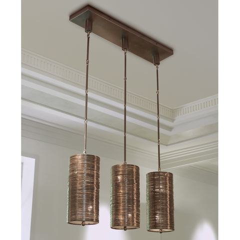 Coil 3 Light Pendant-Polished Bronze Finish