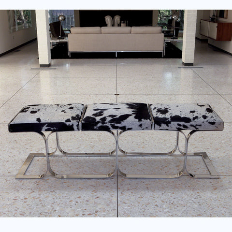 Unique genuine cowhide bench