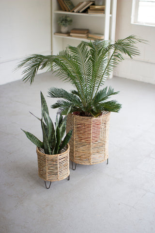 SET OF 2 WOVEN RUSH AND IRON BASKETS