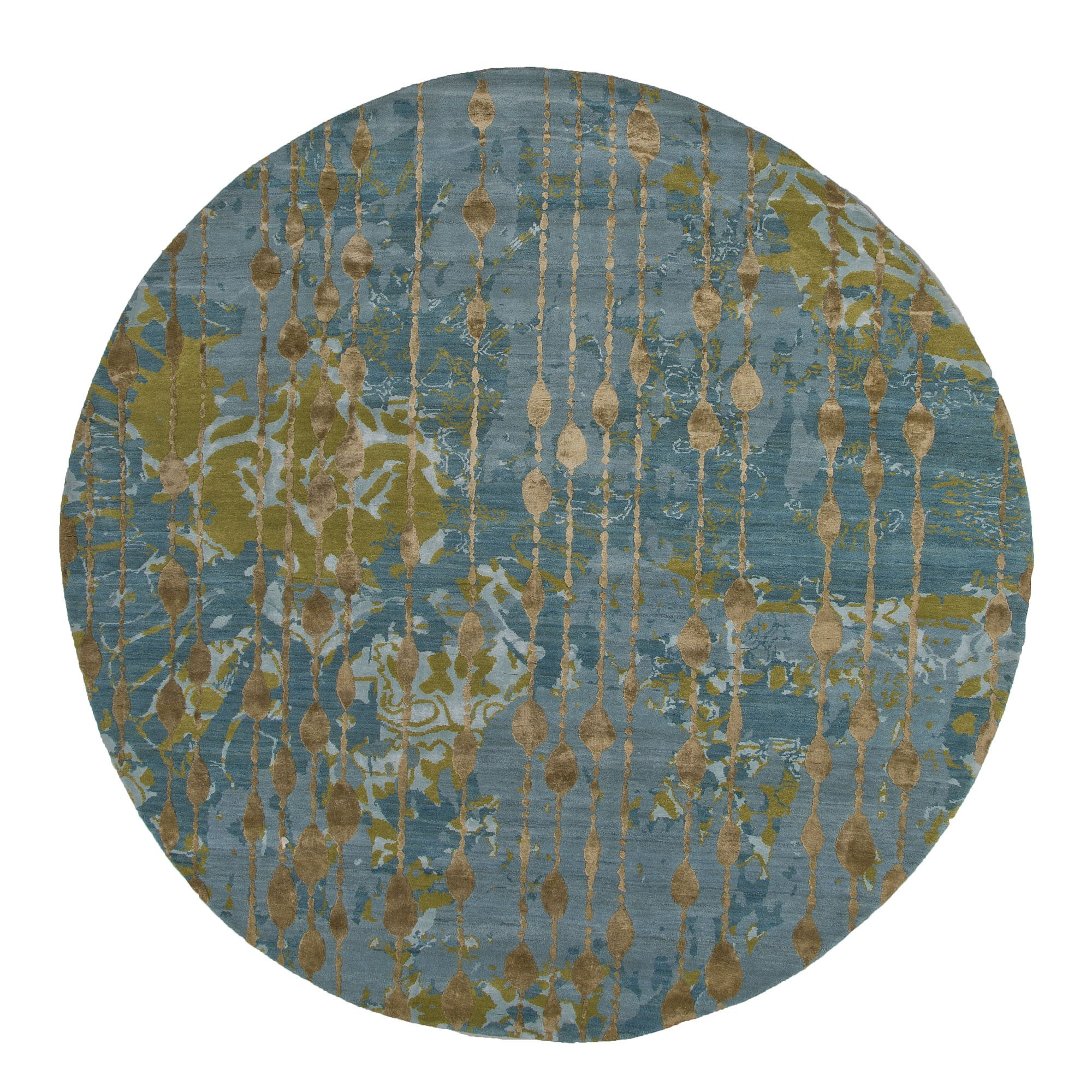 Connextion Collection Ruby Room Rug in Canal Blue & Dark Citron
