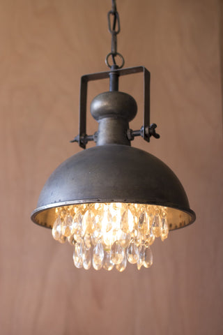 Metal Pendant Lamp w/Hanging Crystals