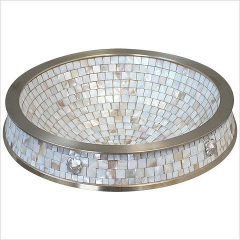 Semi Recessed Mosaic Sink in White Bronze