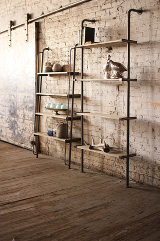 LEANING WOOD AND METAL WALL SHELVING UNIT