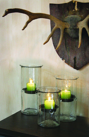 Mini Glass Candle Cylinders w/Rustic Inserts
