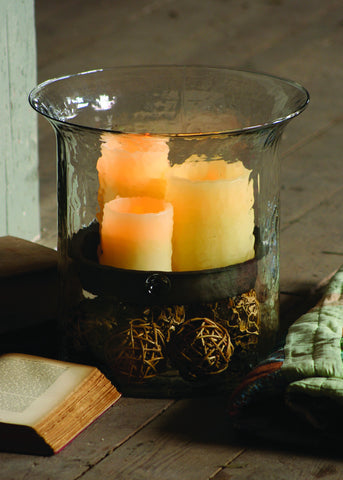 Giant Glass Candle Cylinder w/Rustic Insert