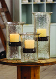 Original Glass Candle Cylinders w/Rustic Inserts