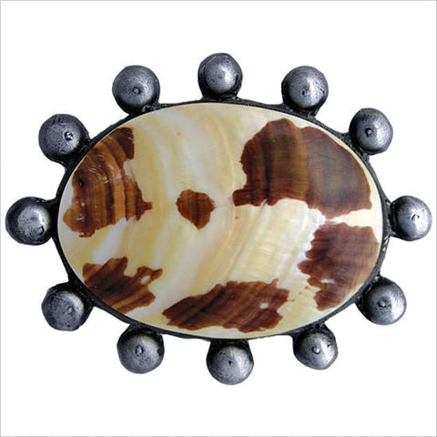Shell Drain Beaded Oval with Natural Shell