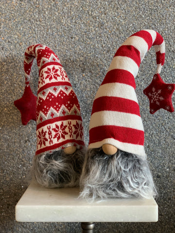 SET OF 2 GNOME HEADS WITH STAR POM