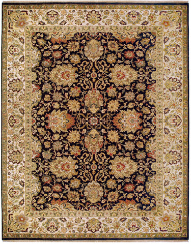 Jagapatti Collection Agra Rug in Charcoal/Cream