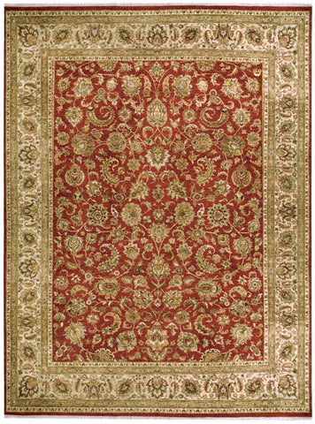 Jagapatti Collection Yezd Rug in Tomato/Cream