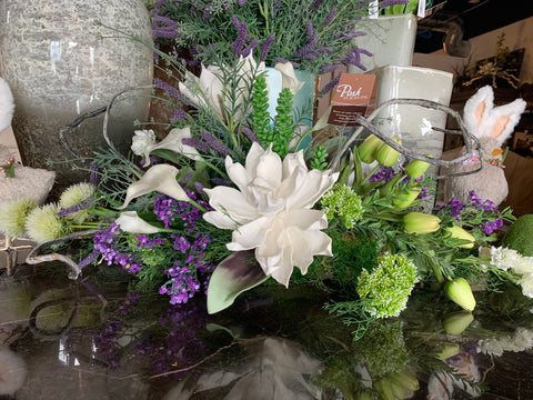 Purple/White/Lime Green Spring Arrangement