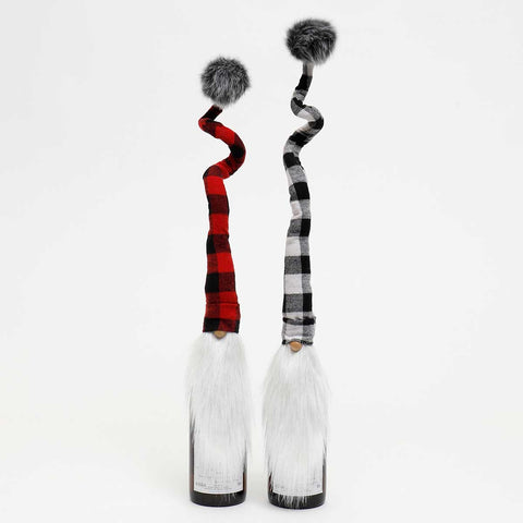 Set of 2 Buffalo Plaid Gnome BOTTLE TOPPERS