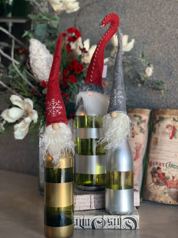 SET OF 3 RED AND GRAY BOTTLE TOPPERS