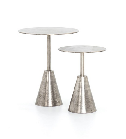 FRISCO END TABLES SET-RAW ANTIQUE NICKEL