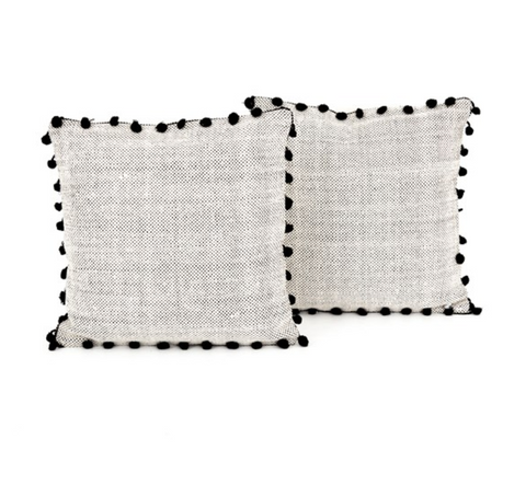BLACK FRINGE TRIM PILLOW, SET OF 2