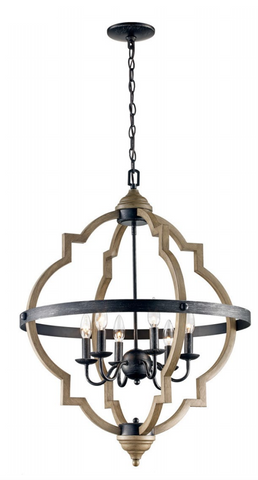 Wood and Metal Candle Lit Sphere Chandelier